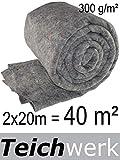 TEICHWERK 40 m² Teichvlies 300 g/qm Premium Schutzvlies Abdeckvlies Teich Vlies Flies Teichflies