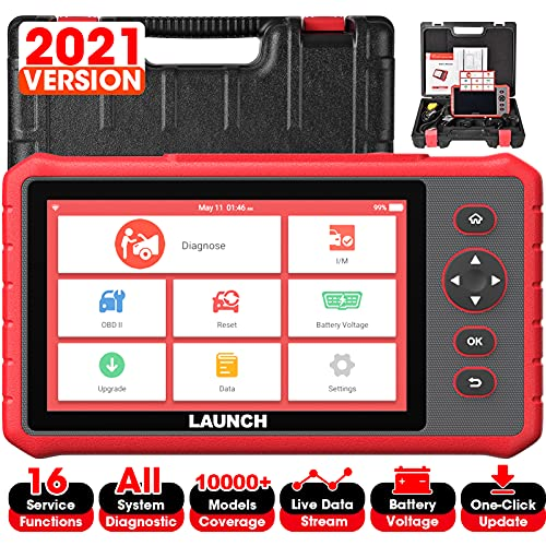 LAUNCH OBD2 Scanner, 2021 New CRP909X Elite Scan Tool with 16 Reset Function All Systems, IMMO,ABS Bleeding,SAS,EPB,TPMS,Oil Reset Diagnostic Tool,7.0'' Touchscreen 7.1 Android Auto VIN,Free Update