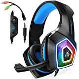 Gaming Headset with Mic LED Light On Ear...