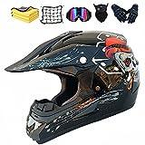 Casco de Cross para niños Downhill para motocross, casco de motocross, guantes, máscara, para BMX MTB ATV, certificación ECE y DOT (B,XL)