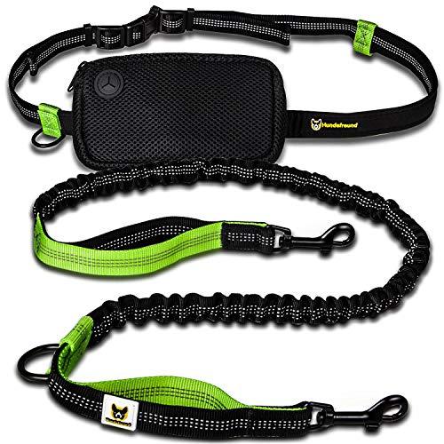 Joggingleine für kleine Hunde bis 15 kg | Elastische Reflektierende Hundeleine von 110 bis 160 cm dehnbar | Leine mit Bauchgurt zum Joggen Laufen Radfahren Wandern