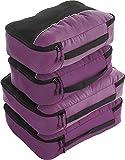 Bago 4 Set Packing Cubes for Travel - Luggage & Suitcase Organizer - Cube Set (Purple)