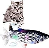 MOKAY Elektrisches Spielzeug Fisch, LED Katzen Interaktive Fisch Bewegung Katzenminzenspielzeug USB Elektrische für Katze zu Spielen, Beißen, Kauen und Treten