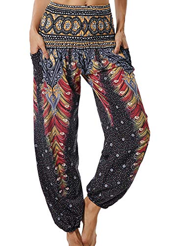 Pantalones de Yoga Mujer Harem Boho del Lazo del Pavo Real Flaral Funky #2 Flor Impresa-B