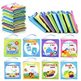 FancyWhoop Soft Book Cloth Books for Babies Nontoxic Baby Fabric Cloth Activity Crinkle Soft Books for Baby Boys Girls Learning Toys Educational Toys (8PCS)