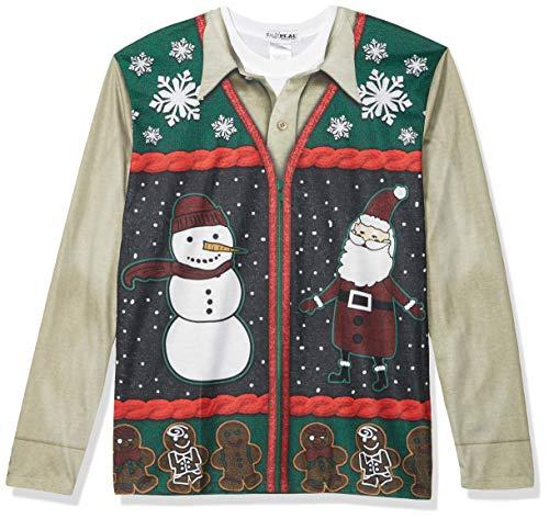Faux Real Men's Xmas Zip Sweater Vest Long Sleeve Shirt, Green, Small