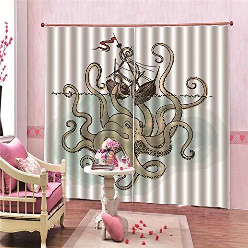 JcurtainC Vorhänge Blickdicht Undurchsichtige Wärmeisolierende Octopus Schiffbruch Gardinen Für Schlafzimmer Wohnzimmer Kinderzimmer Dekorative Gardine Fensterdekoration (150x166cm