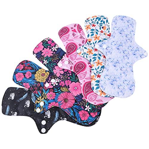 HEALLILY 6 Pzs Almohadillas Menstruales Reutilizables Almohadillas Sanitarias Lavables Mama Tela Panty Forros Compresas Sanitarias Servilletas para Mujeres (Colores Surtidos)