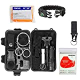 GRULLIN Outdoor Survival Kit, 13 in 1 Multi-Purpose Emergency First Aid Gear Kits with Survival Bracelet Blanket Carabiner for Hiking Camping