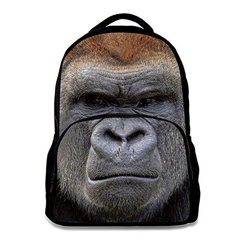 Animal School Bag Children's Age6-16 Polyester 17 Inch Laptop Backpack (King Kong)