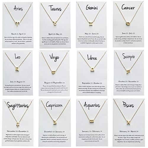 BGPOM Halskette 12 Zodiac Constellations Halskette für Frauen Sternzeichen Astrologie Leo Libra Anhänger Schmuck Geburtstagsgeschenk-WassermannArmband_Silber