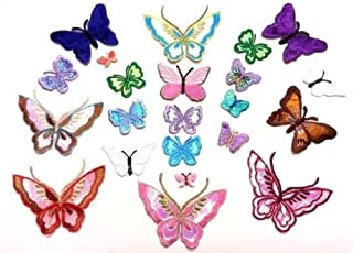 CraftbuddyUS 10 Iron On Fabric Sew On Butterfly Motifs, Craft, Sewing, Embroidery, Patches