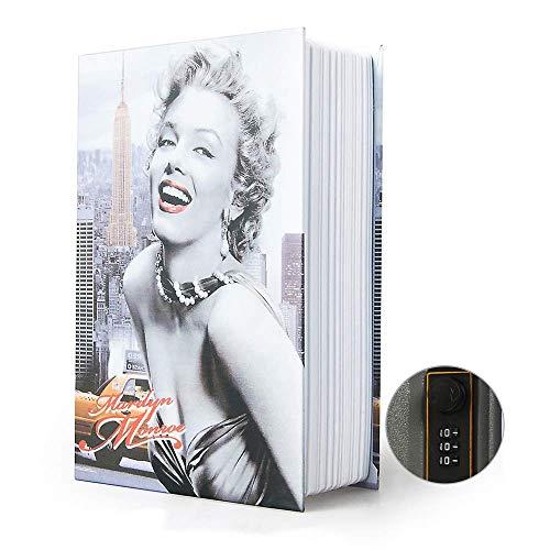 Ablagebuch Safe Aufbewahrungsbox Wörterbuch geheime Safe Dose mit Sicherheit Zahlenschloss/Schlüssel Umleitungsbuch versteckter Safe (Passwortsperre, Marilyn Monroe)