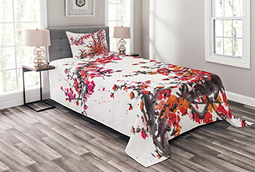 Lunarable Japanese Bedspread, Japanese Cherry Blossoms in Watercolor Brush Style Eastern Vibrant Oriental Art, Decorative Quilted 2 Piece Coverlet Set with Pillow Sham, Twin Size, Orange Red