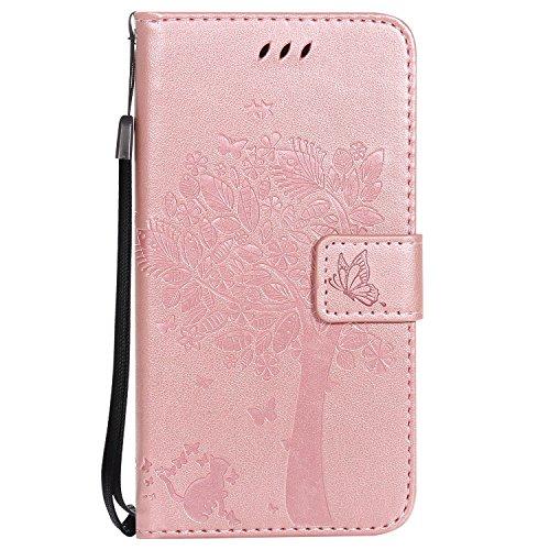ViViKaya Custodia per Samsung Galaxy A5 2017, Pelle Flip Libro Portafoglio Protezione Custodia in TPU Cover Protettiva per Samsung Galaxy A5 2017 [Oro Rosa]