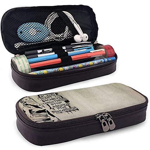 PU lederen etui met ritssluiting, stop met vragen om toestemming voor opslag Marker Case Pen Houder, Make-up Bag