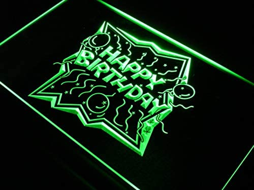 ADVPRO Happy Birthday Balloon Home Decor Finally resale start Sign LED 24 Green Neon At the price of surprise