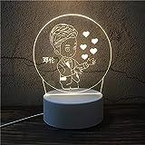 Luz Nocturna ,Lámpara De Ilusión Óptica Led 3D Con Placas Acrílicas De Patrones,Lámpara De Visualización Creativa Usb Regalo Para Niños,Chico Cariñoso