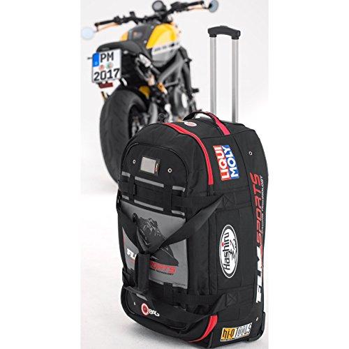 QBag Motorradtasche Motorrad Tasche/Hülle/Etui Reisetasche 01 Sponsor, tolle Optik, sicherer Stand, Einschubtaschen, robust, Trolley – Funktion, Innentasche im Deckel, Schwarz, 120 Liter