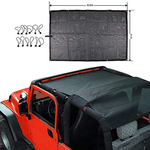 TOAPCAYR for Jeep TJ Bikini Top Sunshade Mesh Sun Shade Cover Soft Top Front Rear UV Protection Accessories Fit Jeep Wrangler 1987-2006 TJ YJ 2 Door in Black Flag