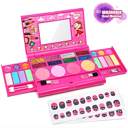 Enjoybot Kids Washable Makeup Toy Girl - 2021 Newest Real Fold Out Cosmetic Palette Kit for Little Girls,Kids Makeup Kit for Girls,Kids Play Washable Makeup Set , Best Girl Gifts for 3/4/5/6/7year