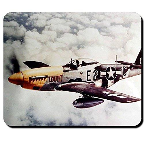 P-51D Amerika USA USAF Air Force vliegtuig jachtvliegtuig begeleider WK 2 - muismat muismat computer laptop PC #8287