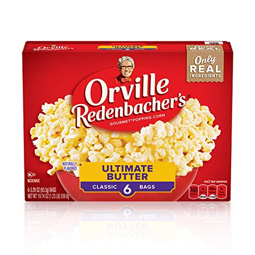 Save %6 Now! Orville Redenbacher's Ultimate Butter Popcorn, Gluten Free, 3.29 Ounce Classic Bag, 6-C...