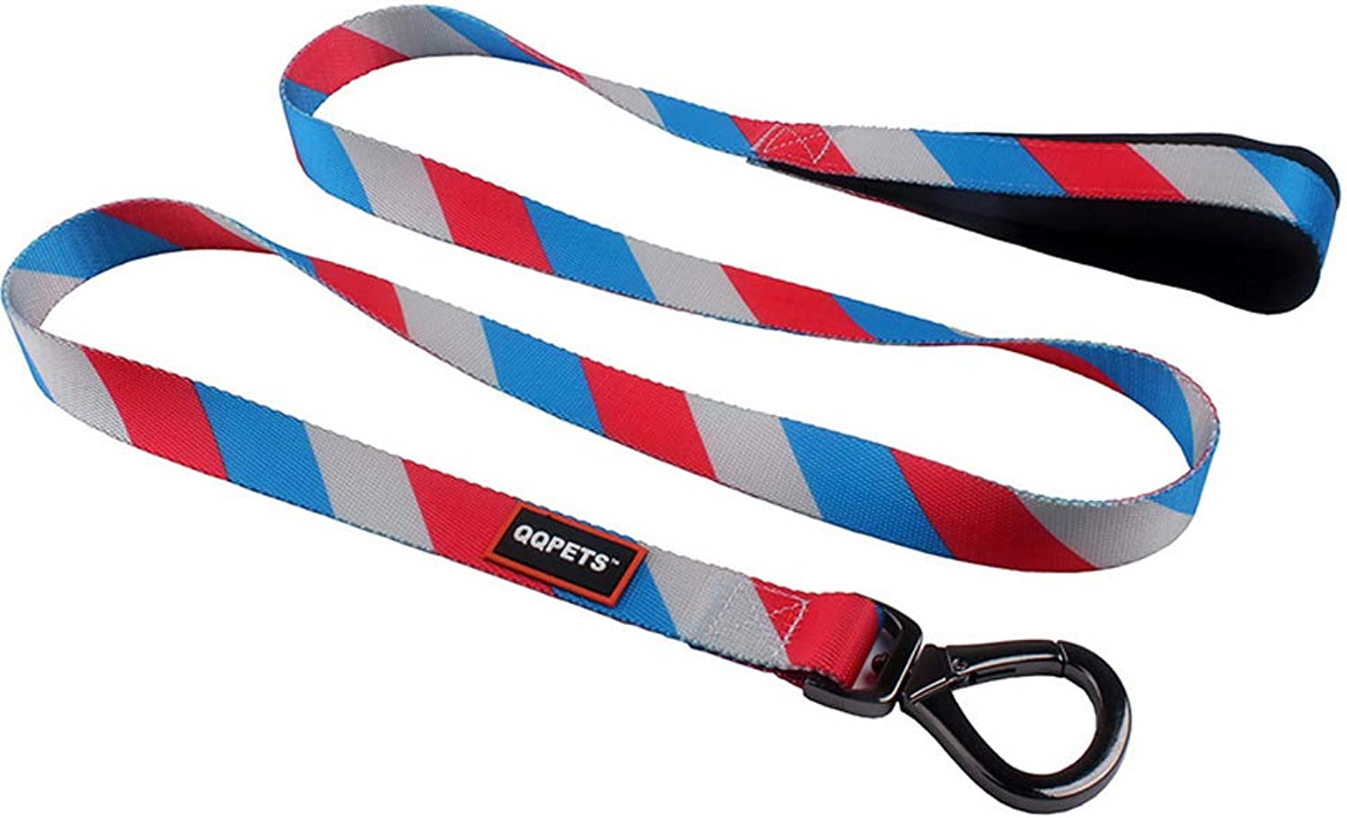 QQPETS Strong Dog Leash (Length 5 ft Width 4 5inch) with Padded Handle Nylon Pet Leash for Small Medium Puppy Breed Red bluee White Stripe