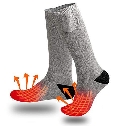 Calcetines térmicos para hombres y mujeres, calcetines con pilas recargables eléctricas para Navidad, camping, pesca, ciclismo, motociclismo, equitación, esquí, ajustes de calefacción de 3 niveles