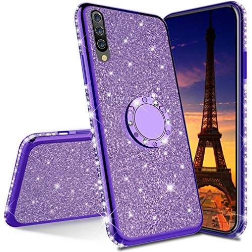 COTDINFOR Huawei Honor 20 Pro hülle Glitzer Diamond Handyhülle Bling stoßfest Ring Schnalle Kickstand Plating TPU Schutzhülle Weich Silikon Etui für Huawei Honor 20 Pro - Purple Glitter