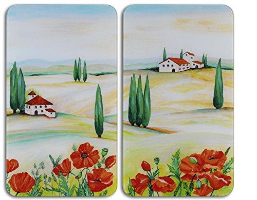 WENKO Herdabdeckplatte Universal Toscana 2er Set - 2er Set, Kochplattenabdeckung und Glas-Schneidebrett für alle Herdarten, Gehärtetes Glas, 30 x 1.8-5.5 x 52 cm, Mehrfarbig