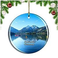 シュリーアゼー湖ドイツクリスマスデコレーションオーナメントクリスマスツリーペンダントデコレーションシティトラベルお土産コレクション磁器2.85インチ