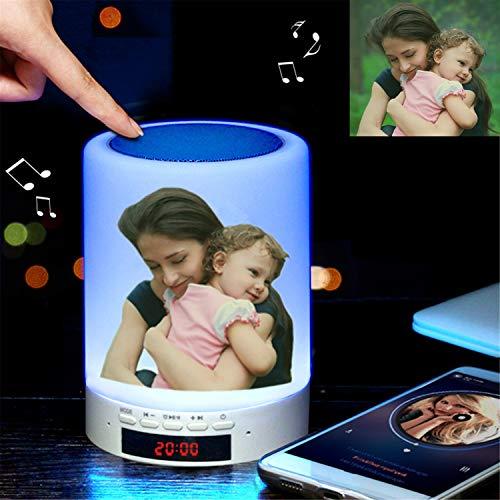 Luz de foto personalizada Lámpara de sobremesa multicolor con altavoz Bluetooth luz nocturna de color regulable, regalo para los niños amigos de la familia