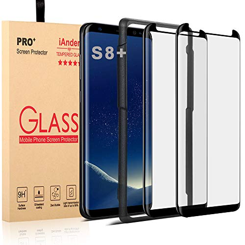 [2-PACK] Galaxy S8 Plus Screen Protector Glass [Easy Installation Tray], iAnder 3D Curved [Tempered Glass] Screen Protector for Galaxy S8 Plus S8+ [Case Friendly]