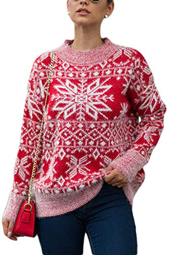YACUN Donne Natale Fiocco Sudore Causale Lunga Sleeeve Pullover Topi Inverno Rosso L