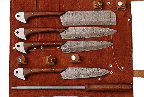 Lot de 5 couteaux de cuisine/barbecue faits main en acier Damas avec manche en bois de rose et rouleau en cuir pur