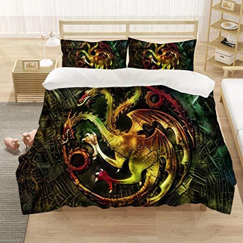 Goplnma-Game of Thrones Bettwäsche-Sets,Wolf Thema Serie Bettbezug,mit Kissenbezug, 3D-Digitaldruck,Mehrfarbig (220×260cm,15)