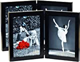 4x6 Folding Picture Frames (2-Pack) Black with HIGH Definition Glass - Displays Two 4'x6' Inch Collage Pictures, Double Dual Twin 2 Photo Frame Stands Vertically on Desktop or Table Top Hinged Frames