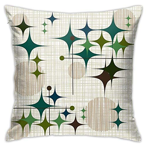 Eames Era Starbursts and Globes 1 Bkgrnd Bedroom Couch Sofa Throw Pillow Covers Home Decorative Square Pillow Case 18x18 Inch
