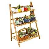 Ufine Freestanding 3 Tier Ladder Shelf Wood Plant Stand Indoor Outdoor Plant...