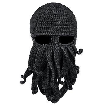 Vbiger Beard Hat Beanie Hat Knit Hat Winter Warm Octopus Hat Windproof Funny for Men & Women Black One Size