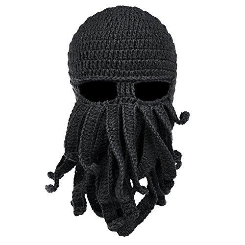 VBIGER Beard Hat Beanie Hat Knit Hat Winter Warm Octopus Hat Windproof Funny