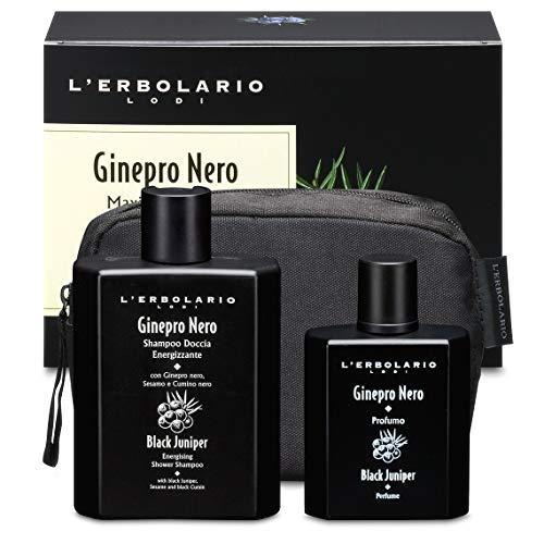 L'Erbolario, Confezione Regalo Maxi Beauty-Set Ginepro Nero, con Doccia Shampoo Energizzante 250 ml e Profumo 50 ml