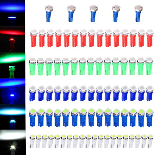 cciyu 80 Pack T5 58 70 73 74 Dashboard Gauge 5050SMD LED Wedge Lamp Bulb Light 5 Colors + 5 Pack Blue High Power T5 37 70 73 74 Instrument Panel Cluster Dash LED Bulbs Light Lamp