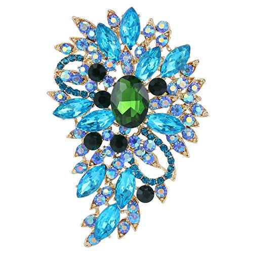 EVER FAITH Broche para Mujer Marquesa Boda Flor Hoja Cristal Austríaco Aguamarina Verde Tono Dorado