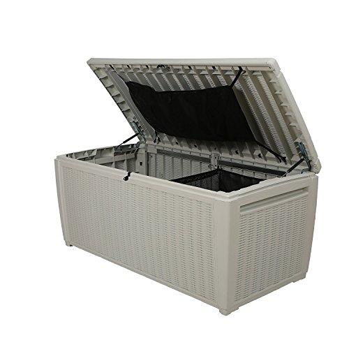 Auflagenbox / Kissenbox Koll Living 511 Liter l 100% Wasserdicht l mit Belüftung dadurch kein übler Geruch / Schimmel l Moderne Rattanoptik l l Deckel belastbar bis 200 KG ( 2 Personen ) - Poolbox - 4