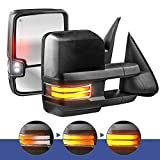 MOSTPLUS Power Heated Towing Mirrors Compatible for Chevy Silverado Suburban Tahoe GMC Serria Yukon 2003-2006 w/Sequential Turn light, Clearance Lamp, Running Light(Set of 2) (Black)