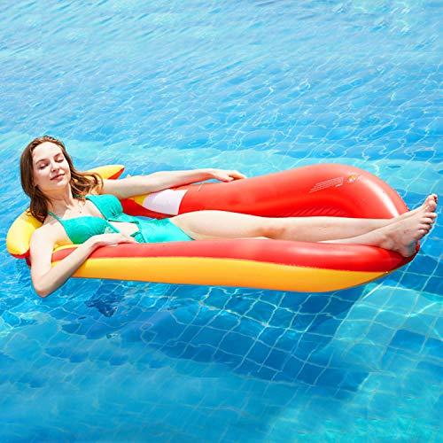 YIZHIYA Fila Flotante Inflable,150×75×30CM Bolsa de Red reclinable Hamaca Flotante,Juguete Inflable del Flotador del PVC de la Calidad,Juguetes de Piscina de Agua de Verano para niños y Adultos