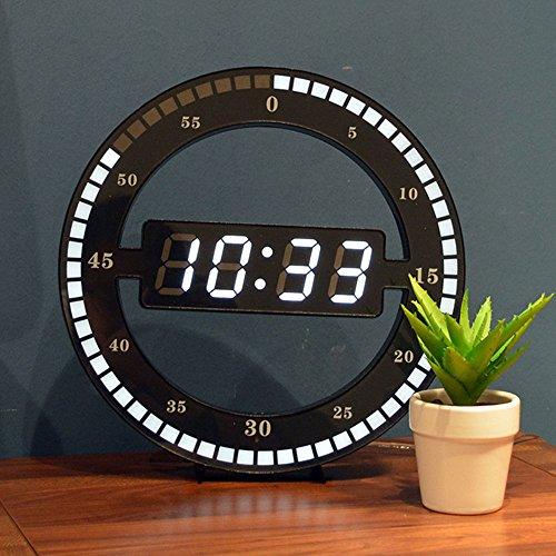 Fugeruisi Horloge de table numérique LED silencieuse - Horloge murale électronique noire - Horloge de bureau ronde - Pour chambre à coucher, salon et bureau 30cm