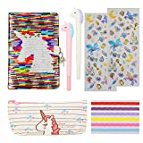 HIFOT Unicorn Stationery Set, Reversible Sequin Unicorn A5 Journal Notebook with Lock for Kids, Unicorn Pencil Case Gen Pens Photo Corner 3D Stickers Gifts for Students Girls School Supplies (7pcs)